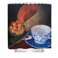 Blue And White Teacup And Melon Shower Curtain