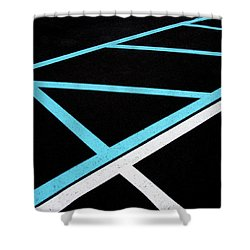 Blue And White Traffic Line Neighbors Shower Curtain by Gary Slawsky