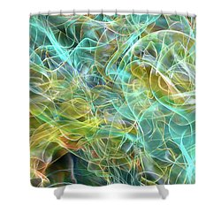 Shower Curtain featuring the digital art Blue And Yellow Abstract by Matt Lindley