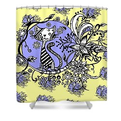 Shower Curtain featuring the drawing Blue And Yellow Cat Pattern by Saribelle Rodriguez
