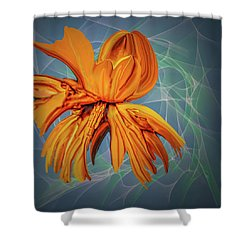 Shower Curtain featuring the digital art Blue And Yellow #h6 by Leif Sohlman