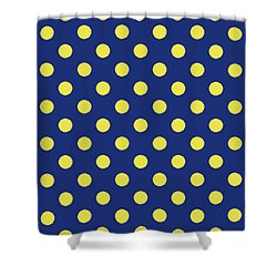Shower Curtain featuring the mixed media Blue And Yellow Polka Dots- Art By Linda Woods by Linda Woods