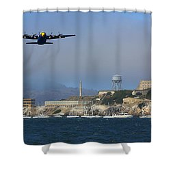 Blue Angels C130 Fat Albert Passes Alcatraz Shower Curtain