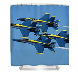 Shower Curtain featuring the photograph Blue Angels Diamond Formation by Adam Romanowicz