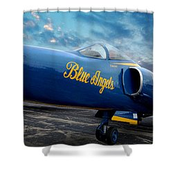 Shower Curtain featuring the photograph Blue Angels Grumman F11 by Rod Seel