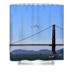 Blue Angels Over Golden Gate Bridge Shower Curtain