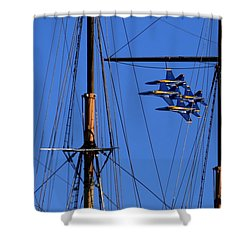 Blue Angels Pass Behind Masts Of The Balclutha At Hyde Street Pier Shower Curtain