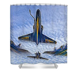 Blue Angels V.2 Electric Edition Shower Curtain