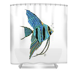 Blue Anglefish Shower Curtain
