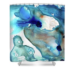 Shower Curtain featuring the painting Blue Art - The Meaning Of Life - Sharon Cummings by Sharon Cummings