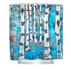 Blue Aspen Tree Shower Curtain