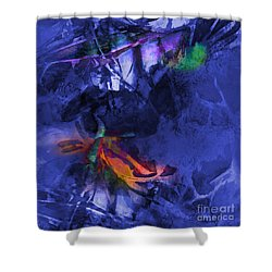 Blue Avatar Abstract Shower Curtain