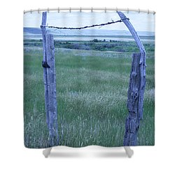 Blue Barbwire Shower Curtain by Mary Mikawoz