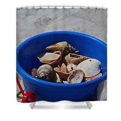 Shower Curtain featuring the photograph Blue Beach Bucket by Michiale Schneider