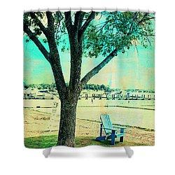 Shower Curtain featuring the photograph Blue Beach Chair by Susan Stone