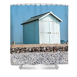 Blue Beach Hut Shower Curtain