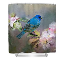 Blue Beauty In The Flowers Shower Curtain
