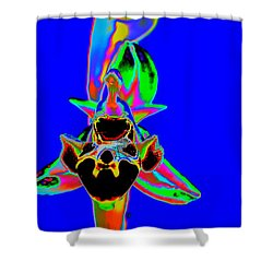 Blue Bee Orchid Shower Curtain