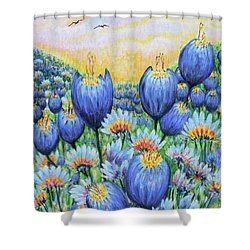 Shower Curtain featuring the painting Blue Belles by Holly Carmichael
