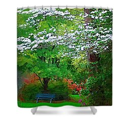 Shower Curtain featuring the photograph Blue Bench In Park by Donna Bentley