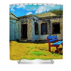 Blue Bench Shower Curtain