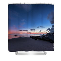 Blue Betsy Sunrise Shower Curtain by Robert Loe