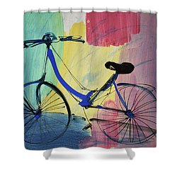 Blue Bicycle Shower Curtain by Amara Dacer