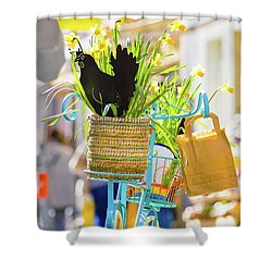 Blue Bicycle With A Basket Full Of Yellow Daffodils Shower Curtain
