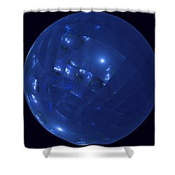 Blue Big Sphere With Squares Shower Curtain