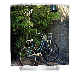 Blue Bike-  By Linda Woods Shower Curtain