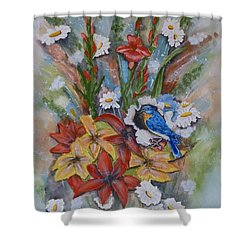 Blue Bird Eats Thru The Painting Shower Curtain by Kelly Mills