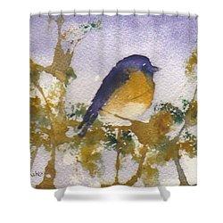 Blue Bird In Waiting Shower Curtain