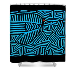 Shower Curtain featuring the digital art Blue Bird Mola by Vagabond Folk Art - Virginia Vivier