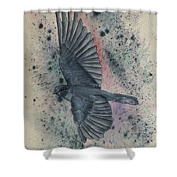 Blue Bird Versus Bold Background Shower Curtain by Kelly Mills