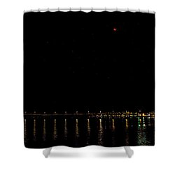 Blue Blood Moon 2018 Ventura, California Pier Shower Curtain