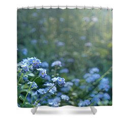 Blue Blooms Shower Curtain