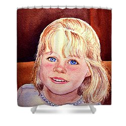 Blue Blue Eyes Shower Curtain by Irina Sztukowski