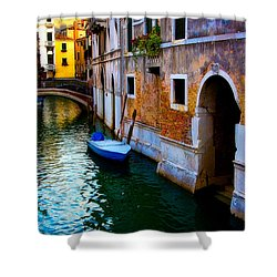 Blue Boat At Twilight Shower Curtain