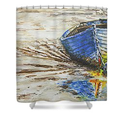 Blue Boat Shower Curtain by Marty Garland