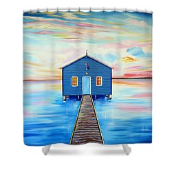 Blue Boat Shed By The Swan River Perth Shower Curtain