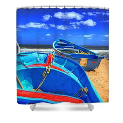Blue Boats Shower Curtain