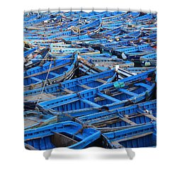 Shower Curtain featuring the photograph Blue Boats Of Essaouira by Ramona Johnston