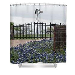 Blue Bonnets By Gate Shower Curtain