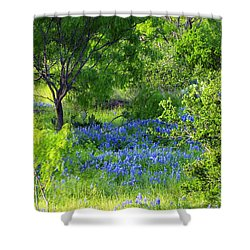 Blue Bonnets In The Country Shower Curtain