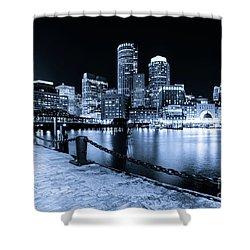 Blue Boston Skyline At Night And Harborwalk Photo Shower Curtain