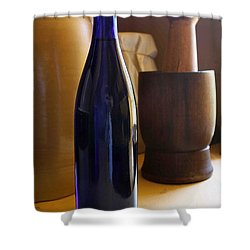 Blue Bottle And Mortar Shower Curtain
