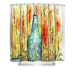 Shower Curtain featuring the painting Blue Bottle by Cathie Richardson