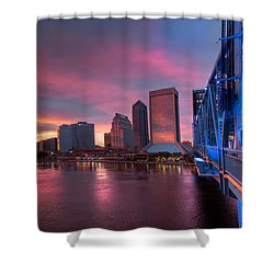 Blue Bridge Red Sky Jacksonville Skyline Shower Curtain by Debra and Dave Vanderlaan