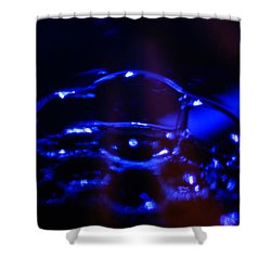 Shower Curtain featuring the digital art Blue Bubbles by Jana Russon