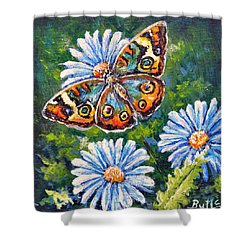 Blue Buckeye Shower Curtain